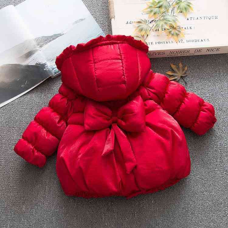 Winter Baby Girls, Bow Cotton -padded Hooded  Jacket