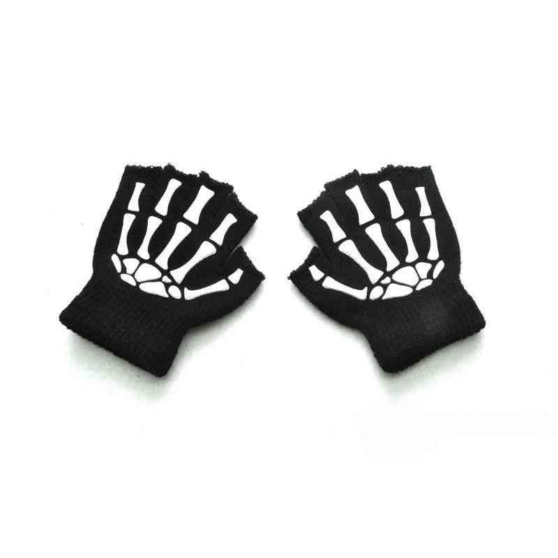 Shiny Winter Warm Kids Gloves- Halloween Luminous Skull's Gloves