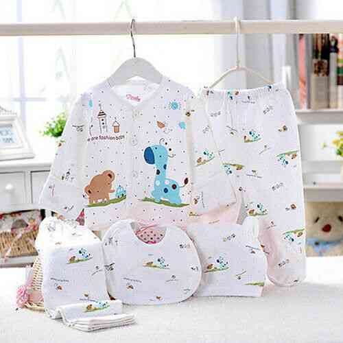 5pcs Of Animal Print Newborn Baby, Cotton Outfit Set