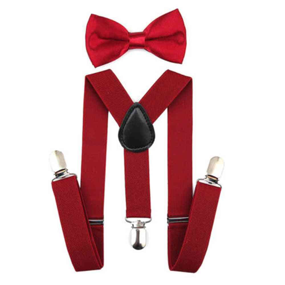 Adjustable Y Back Style, Cotton Butterfly Bowtie And Suspender Set