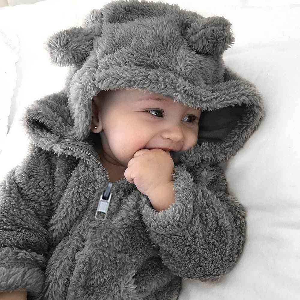 Fur Hoodie Solid Winter Warm Jacket For Babies