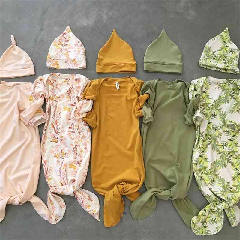 Newborn Baby Sleeping Bag, Wrap Swaddle Blanket And Headband Sets