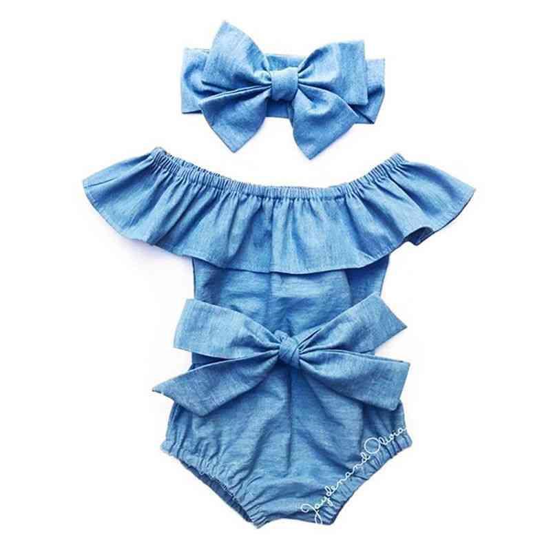 Newborn Baby Front Bowknot Bodysuit Romper Jumpsuit Outfits Set