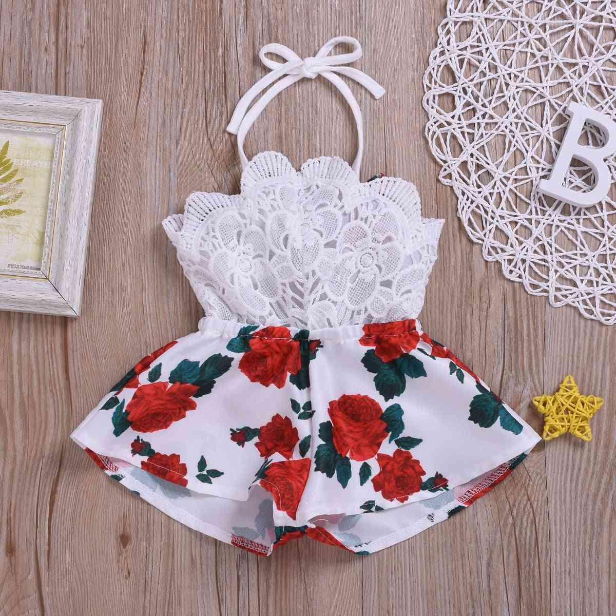 Summer Newborn Baby Girl Clothes Sleeveless Lace Flower Print Strap Romper Jumpsuit