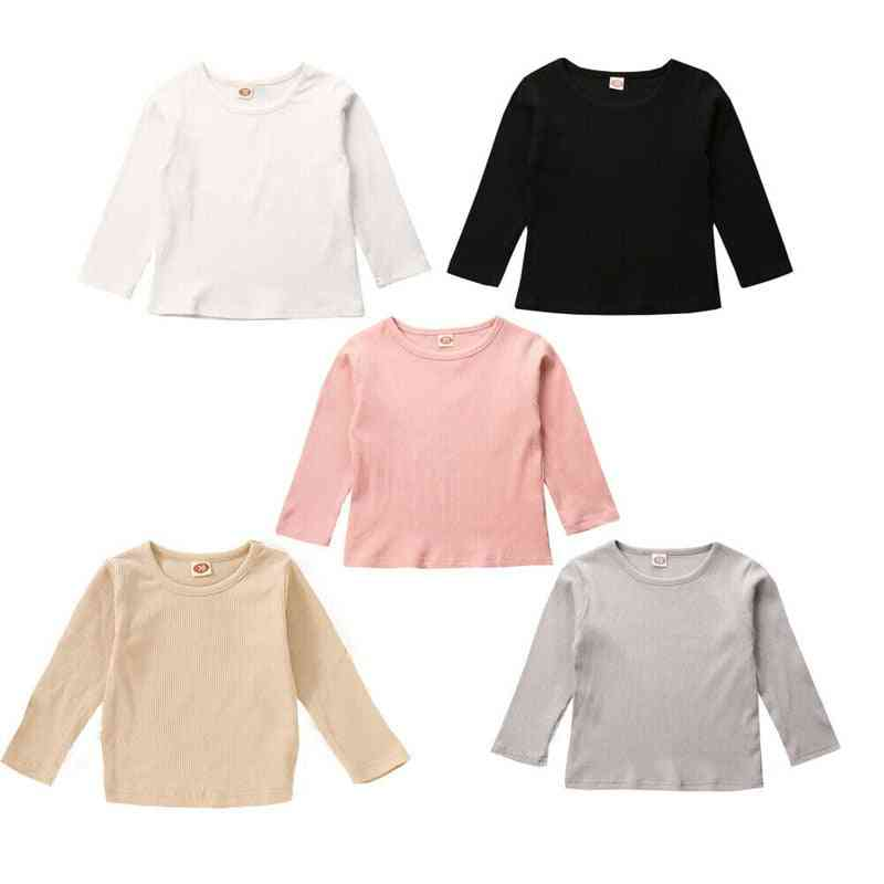 Boys T-shirts, Warm Knitted Long Sleeve Cotton Round Neck Tees