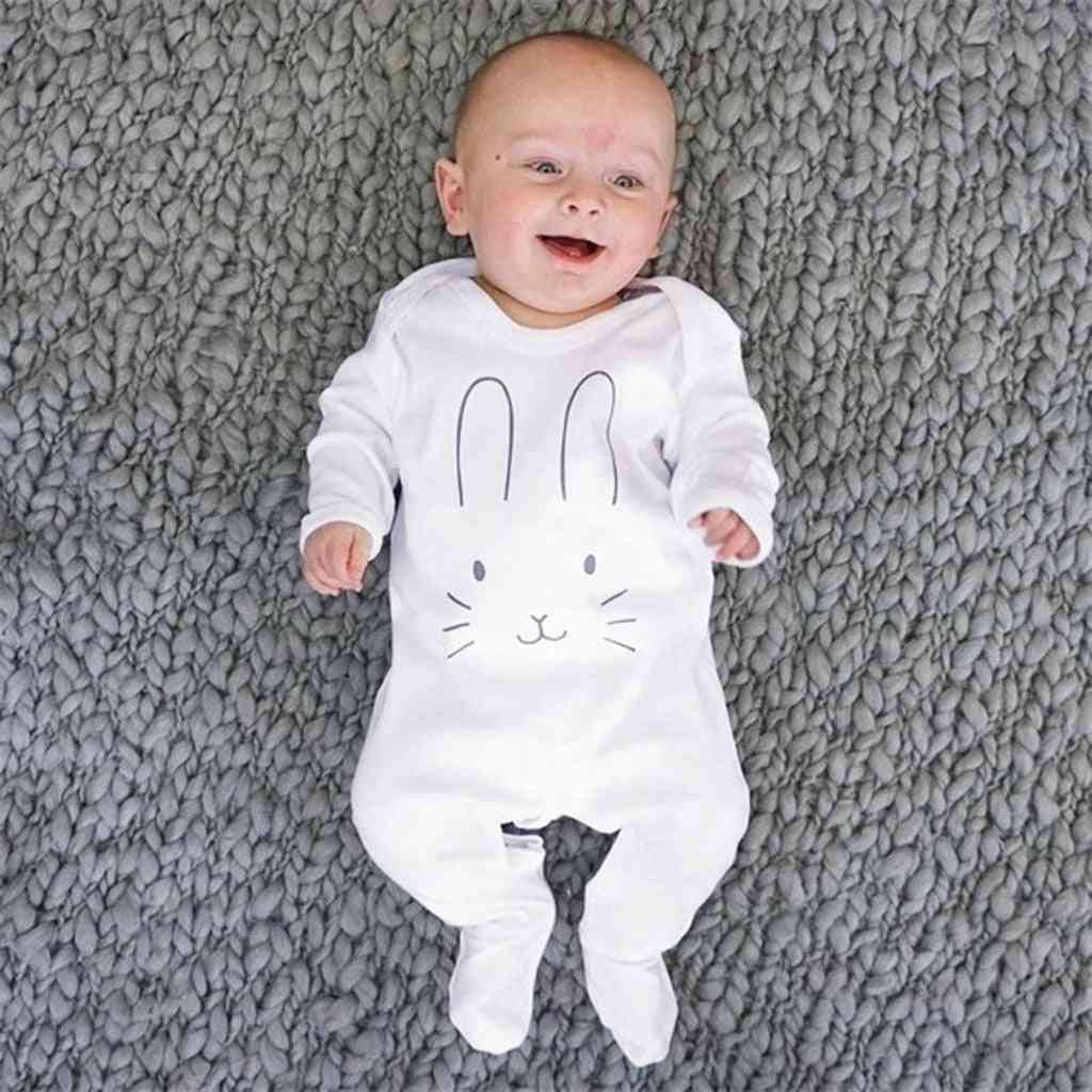 Newborn Romper, Infant Long Sleeve Footed Sleeper- Rabbite Cartoon Print Jumpsuit