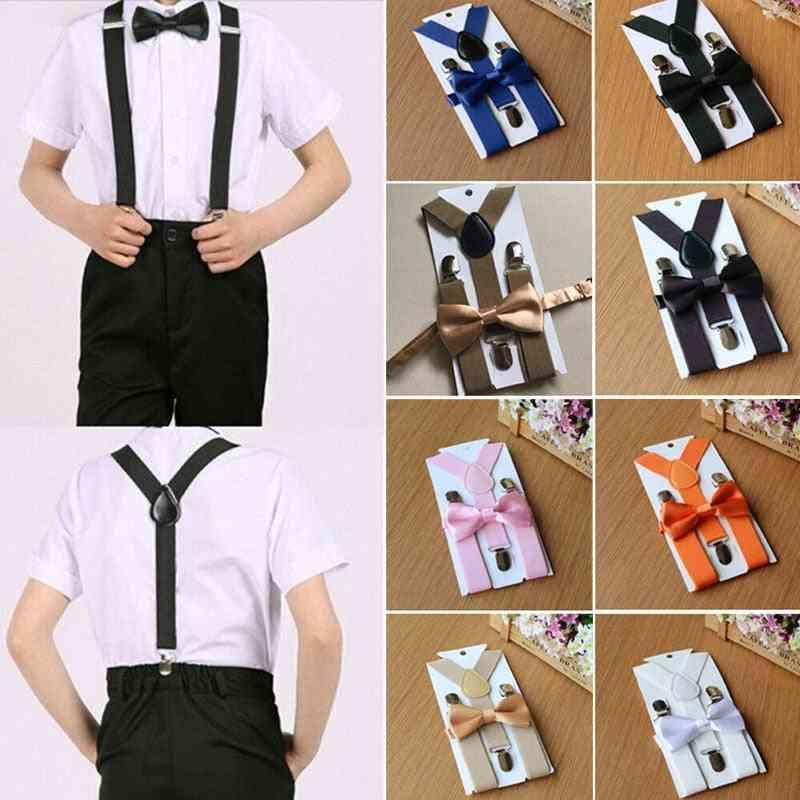 Elastic Flexible Adjustable / Straps Suspenders Clip-on Braces Bow Tie Set