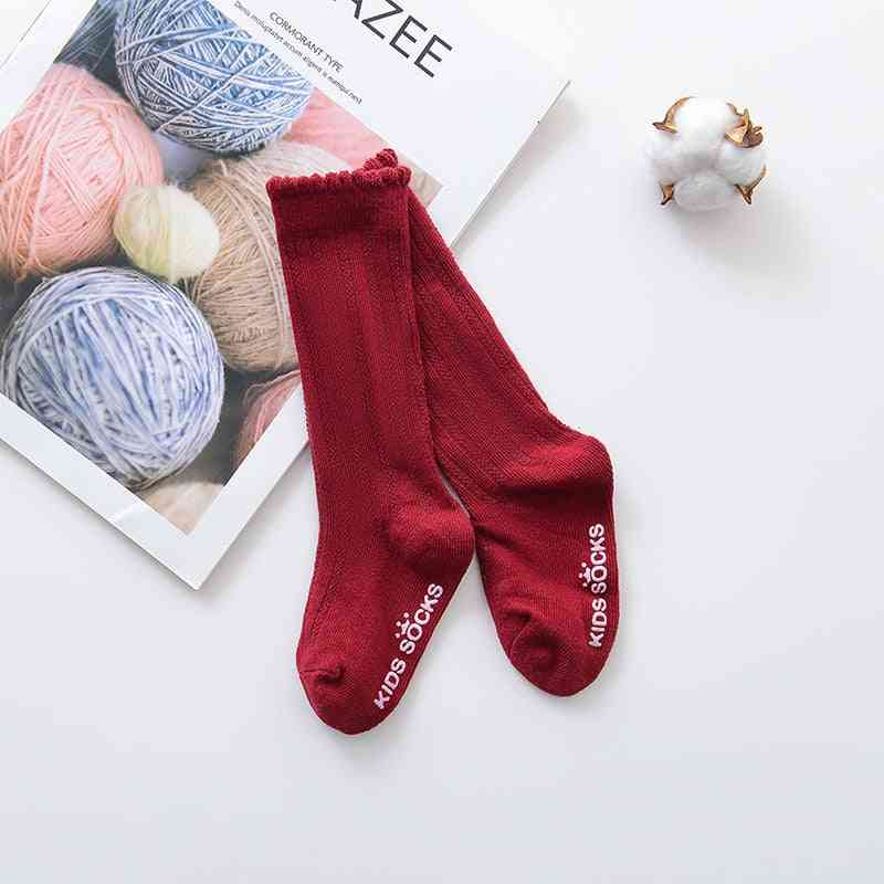 Girls Big Bow Knee, High Long Soft Cotton Lace Baby Socks