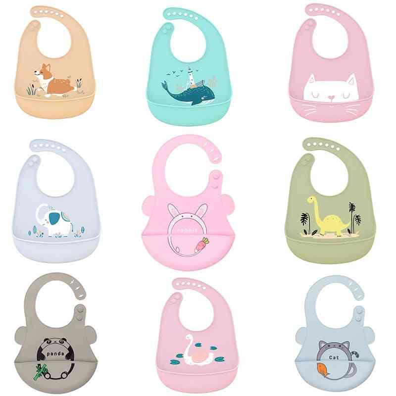 Cartoon Print Feeding Arpon Waterproof Baby Bibs Adjustable Food Saliva Towel Burp Cloth