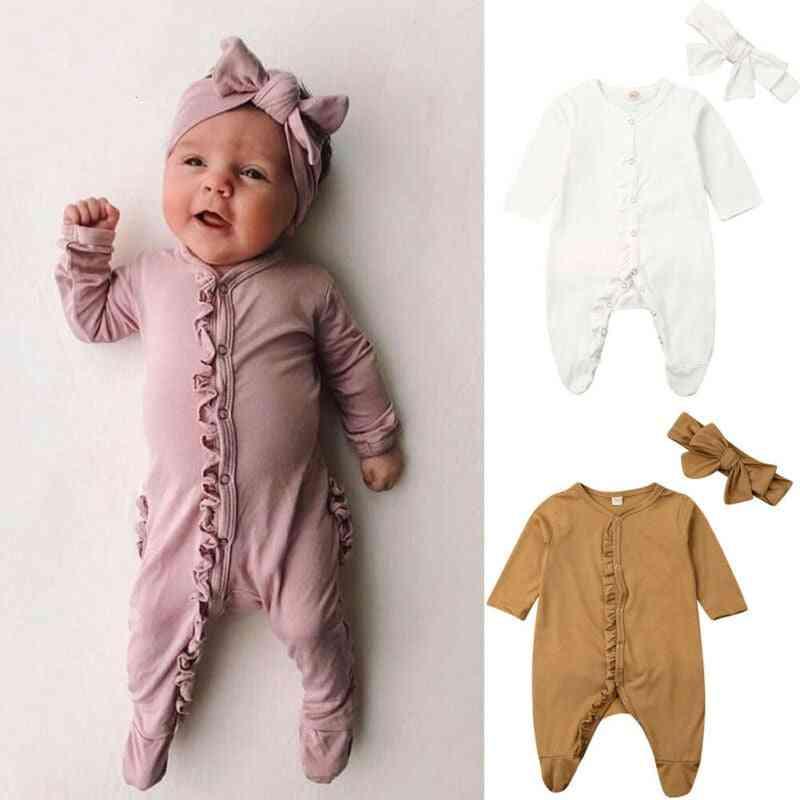 Newborn Baby Footies Jumpsuit & Headdress