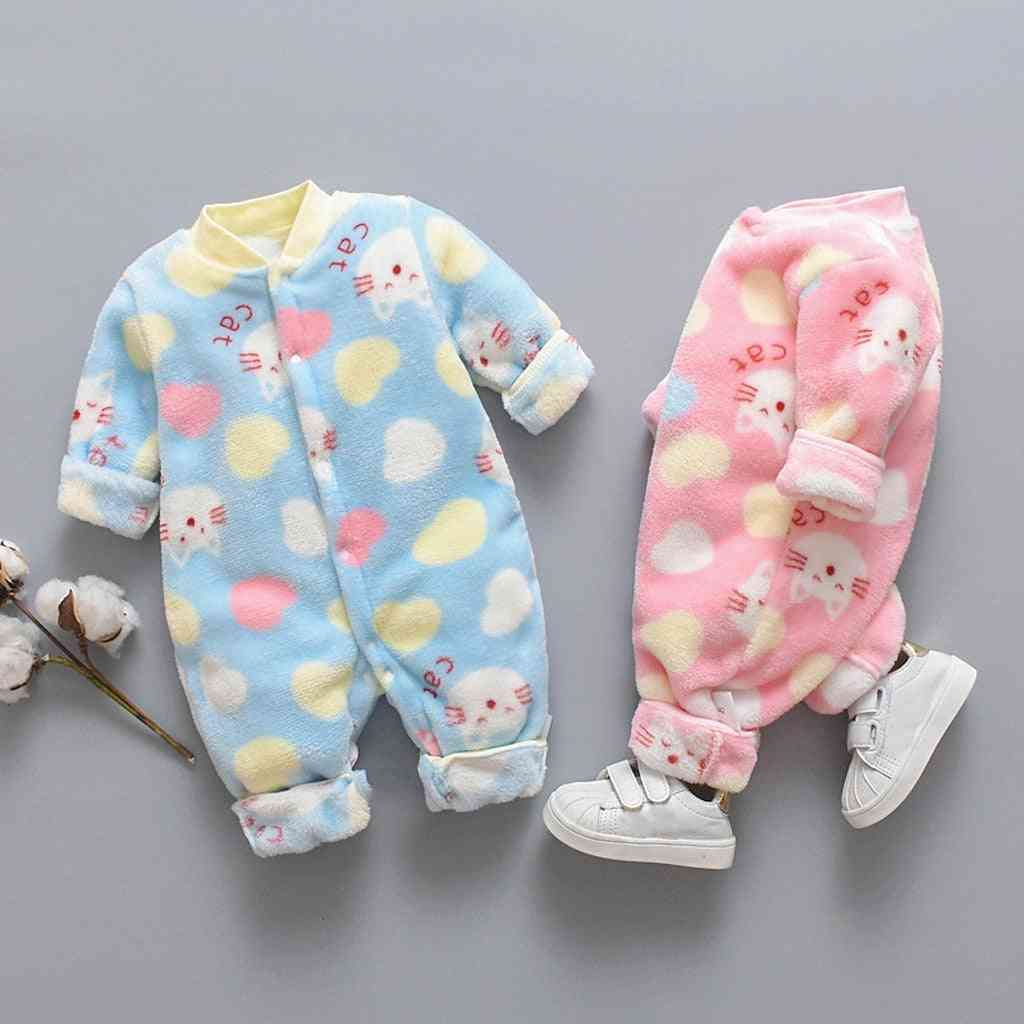 Newborn Baby Jumpsuit, Cartoon Animal Fleece Warm Romper Jumpsuit& Soft Pajamas Warm Clothes