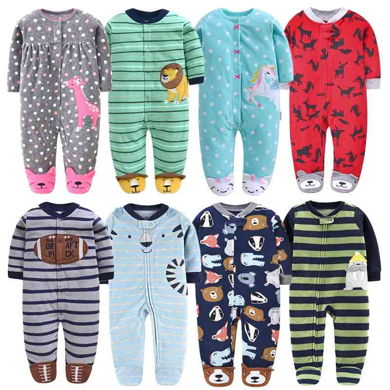 Newborn Baby Fleece Clothes - Kids Footed Pajamas With Long Sleeves