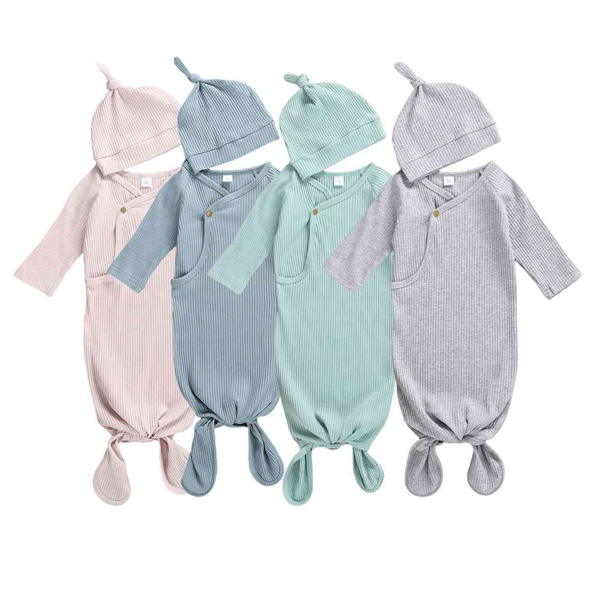 Newborn Baby Girl Solid Knitted Swaddle Wrap Blanket Sleeping Bag+hat Set