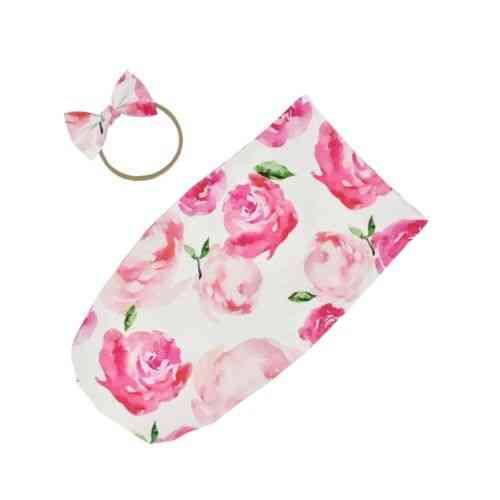 Newborn Swaddle Blanket Baby Sleeping Bag, Wrap Headband Floral Cloth