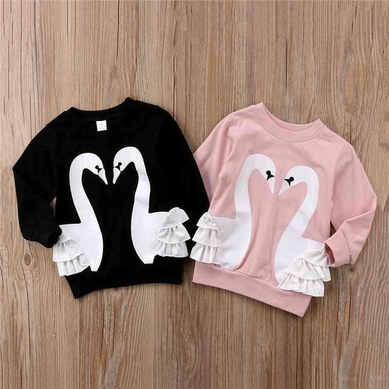 Toddler Baby Cotton Cartoon Long Sleeve Lace T-shirt Top