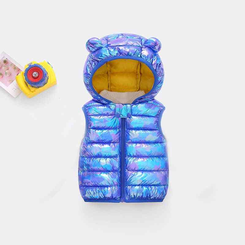 Sleeveless And Hooded-shiny Winter Vest For Kids
