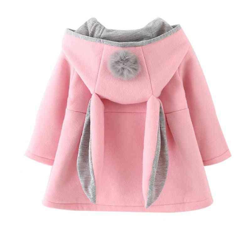 Girls Princess Coat Jacket- Rabbit Ear Hoodie Casual, Outerwear