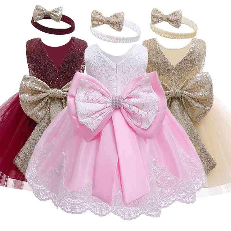 Sleeveless Lace Bowknot Dress For Birthday Party -toddler Costume
