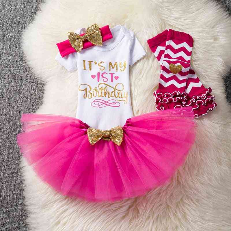 1st Birthday Outfits Baby Girl Clothes, Ballet Skirts With Headband Cotton Romper Suits For Party