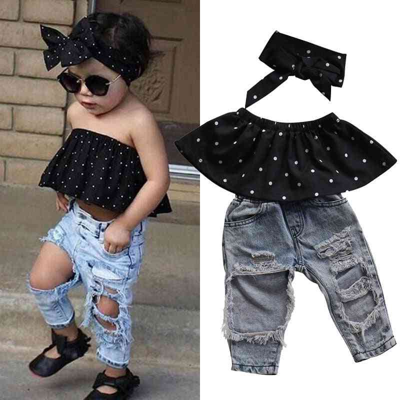 Newborn Baby Girl Clothes Dot Sleeveless Top Vest Hole Jeans Pants Outfits Casual Summer Fashion