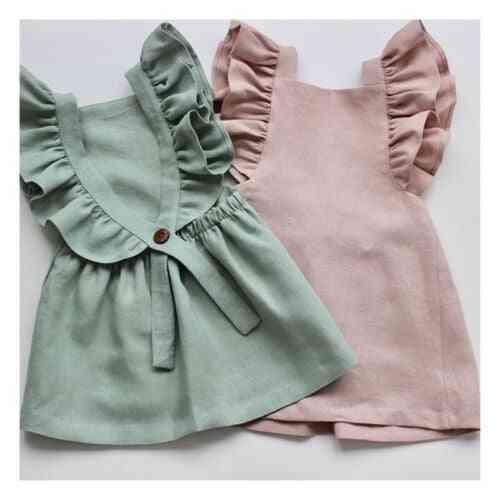 Knee Length, Casual Cute Ruffle Princess Party Dress For Baby