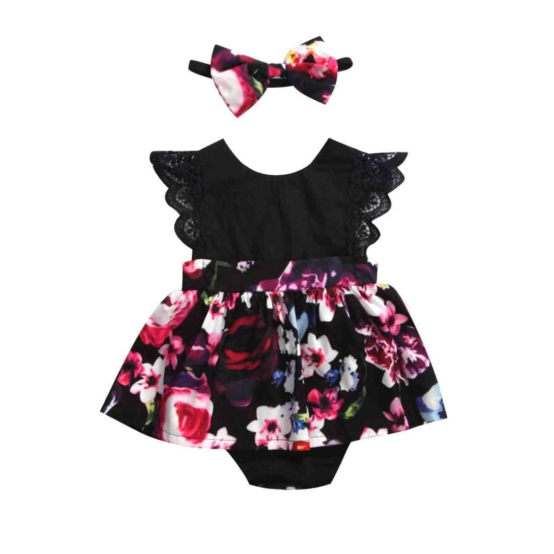 Newborn Baby Girl Romper Tutu Dress Headband Floral Outfits Party Dress