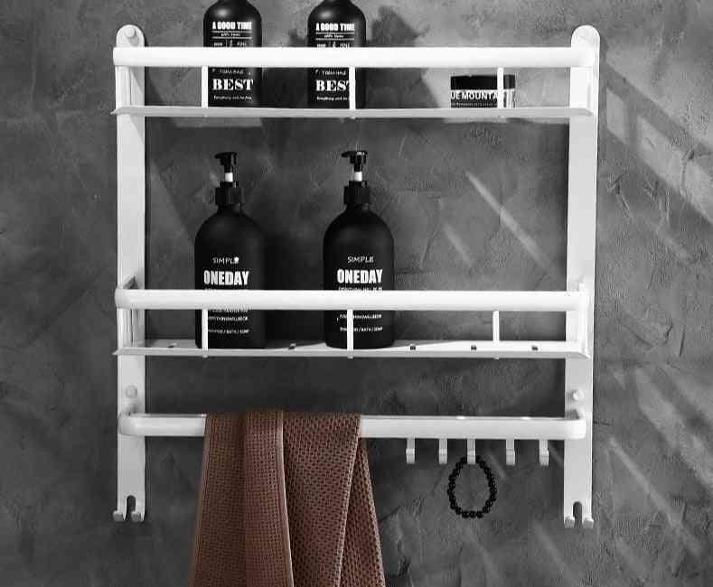 White Bathroom Shelves,wall Hanging Set- Corner Shelf Shower Rack