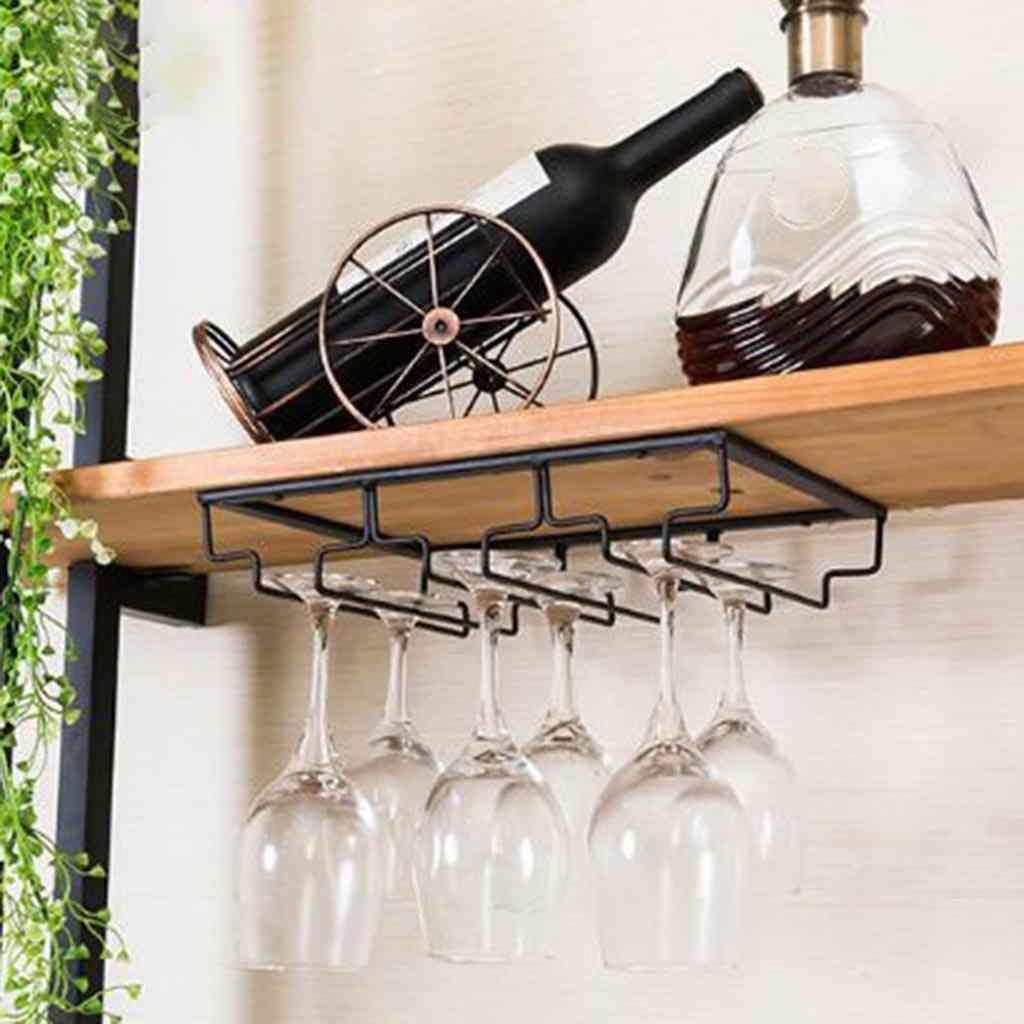 Stainless Steel Wine Glass Holder-under Cabinet Storage Shelf