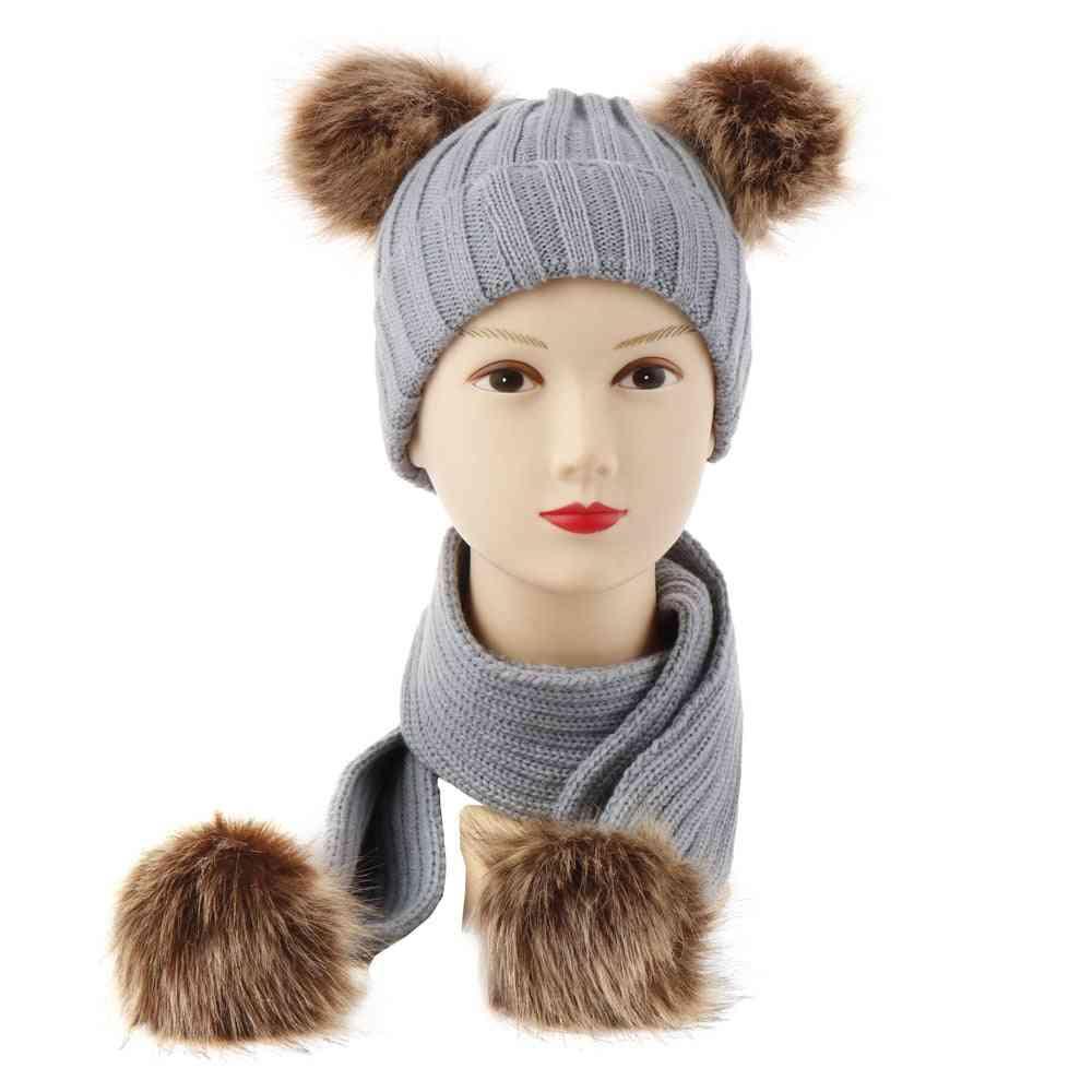 Children Baby Scarves Winter Warm Baby Girl Hat For Baby Boy Suit Infant Unisex Set