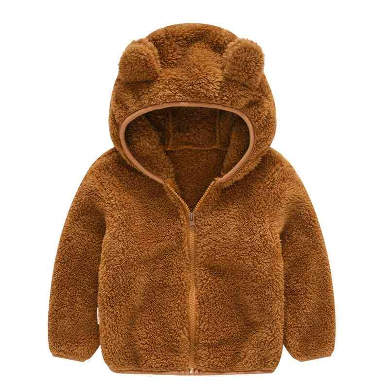 Baby Winter Clothes, Gril / Boy Cute Ear Long Sleeve Zipper Jacket, Solid Thick Cotton Hooded Coat