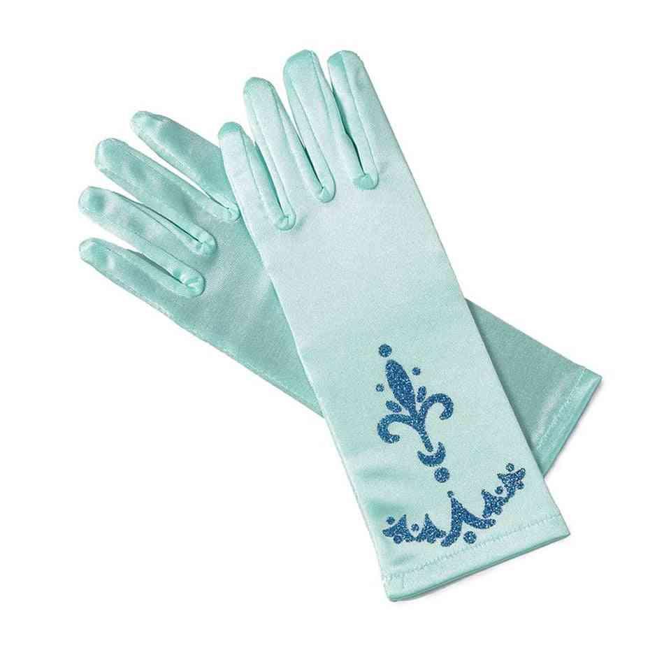Brocade Long Finger, Printed Girl Elsa Gloves