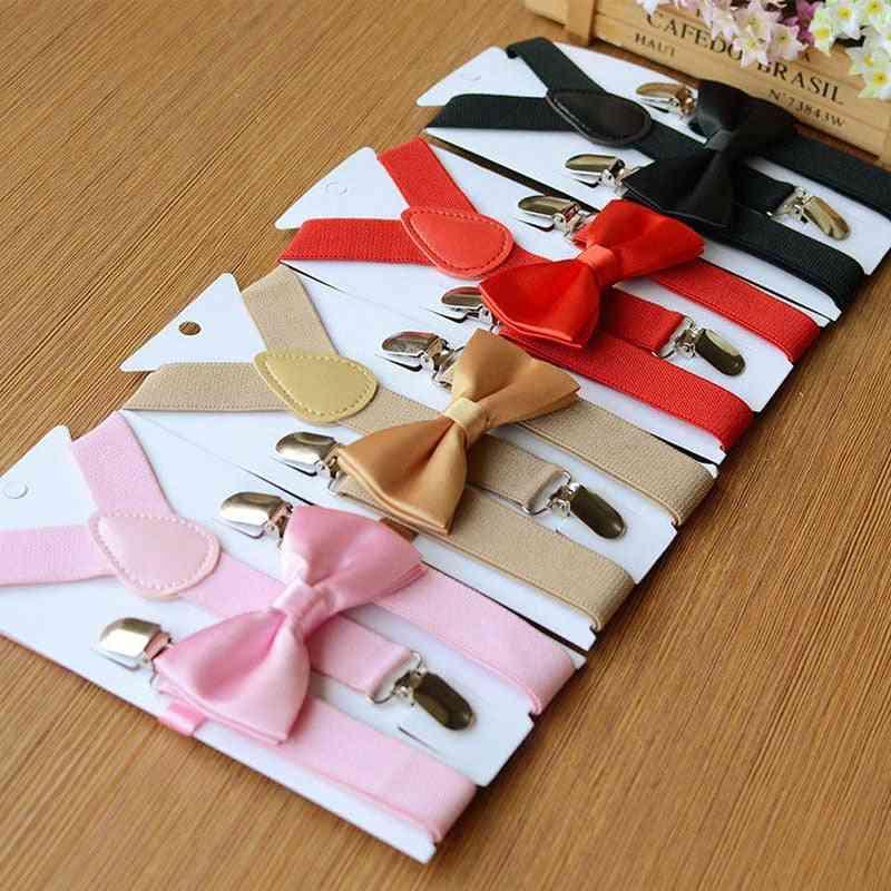 Children Braces Suspenders Bow Tie, Y-shaped Braces And Bowtie Set