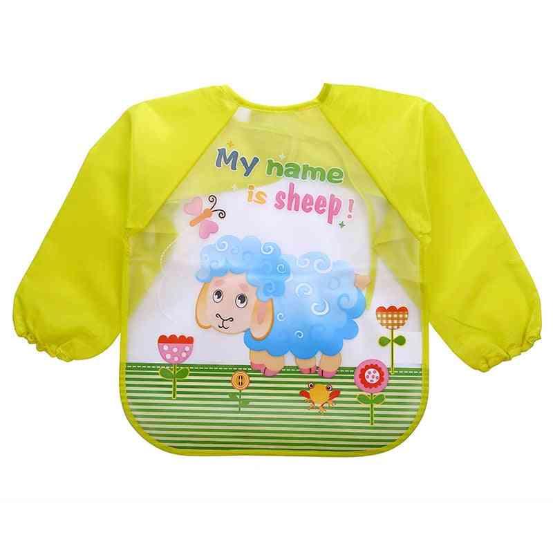 Baby Boy / Girl Waterproof Long Sleeve Mickey Minnie Feeding Bib With Pocket