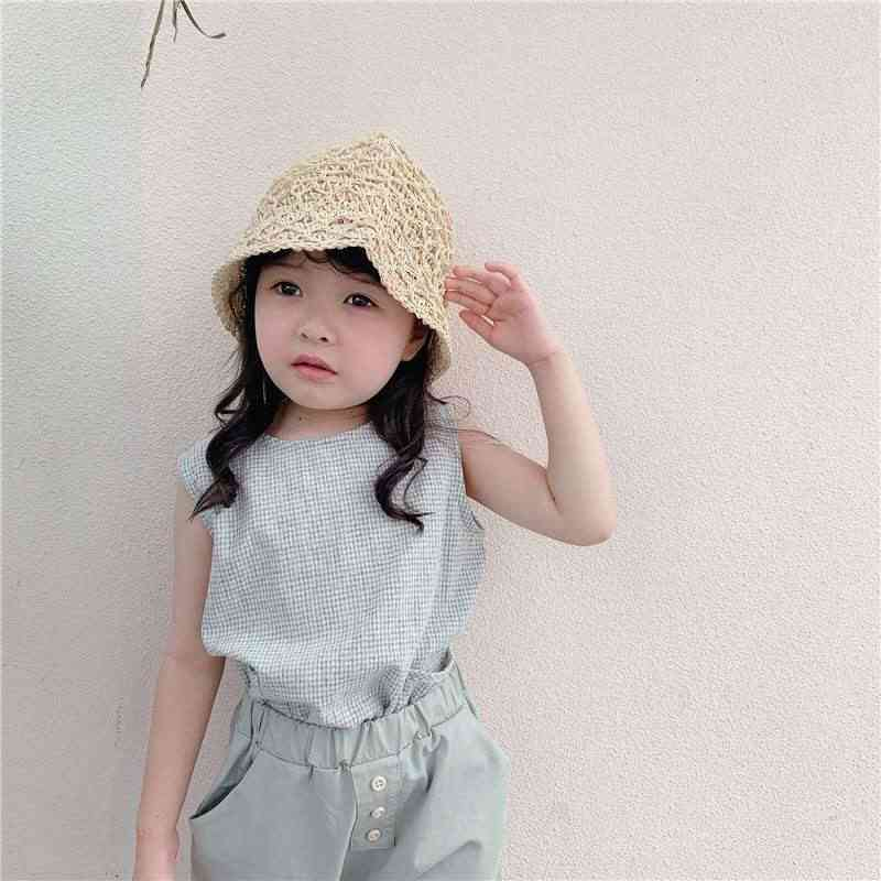 Children's Wear, Summer Korean Plaid Linen Cotton Vest Shirt, Sleeveless Round Neck Pocket Cute Top