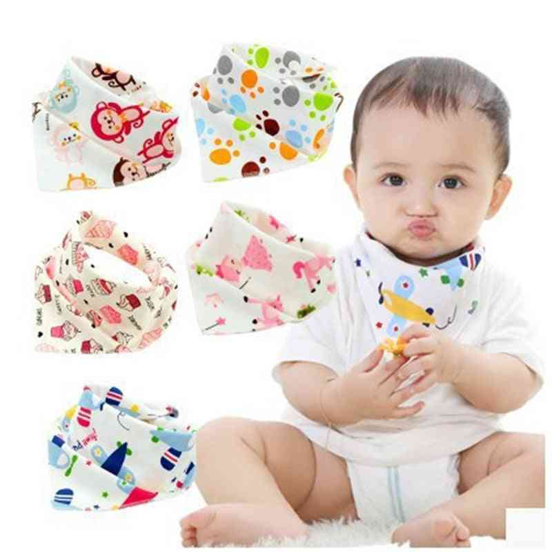 Triangle Shaped, Cotton Cartoon Print Baby Bibs -newborn Slabber Absorbent Cloth
