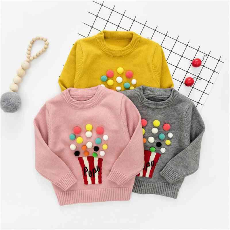 Long Sleeve, Pompon Design-warm Knitted Woolen Sweater