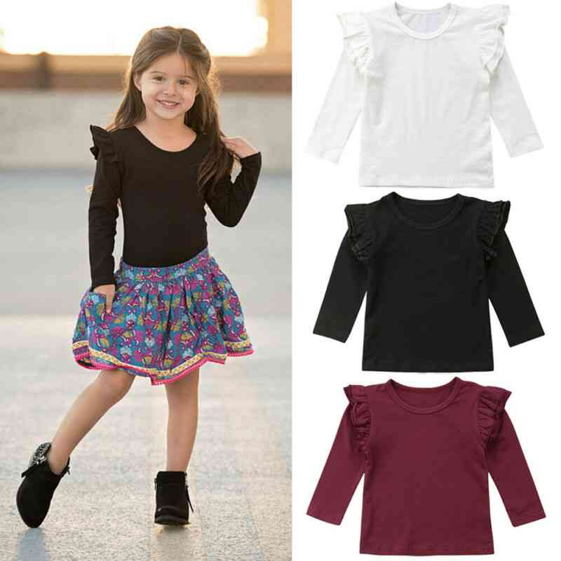 Casual Cute Floral Shape, Cotton Long Sleeve Top For Baby