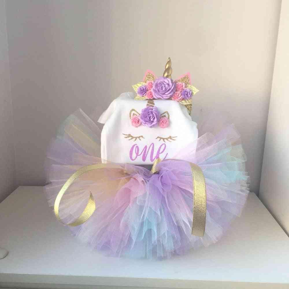 1 Year Baby Girl Birthday Romper+tutu Dress+headband Unicorn Dress