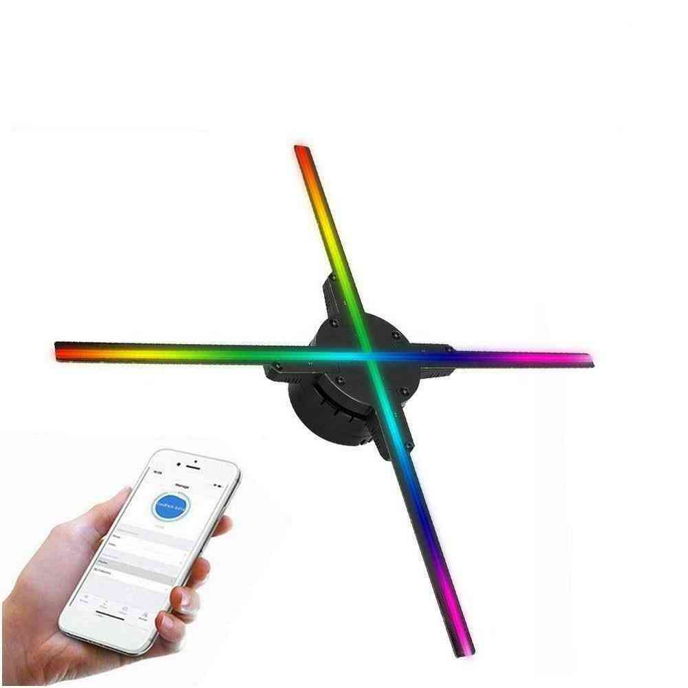 Wifi 3d Hologram Projector Fan 638 Led Holographic Imaging Lamp   With 16g Tf