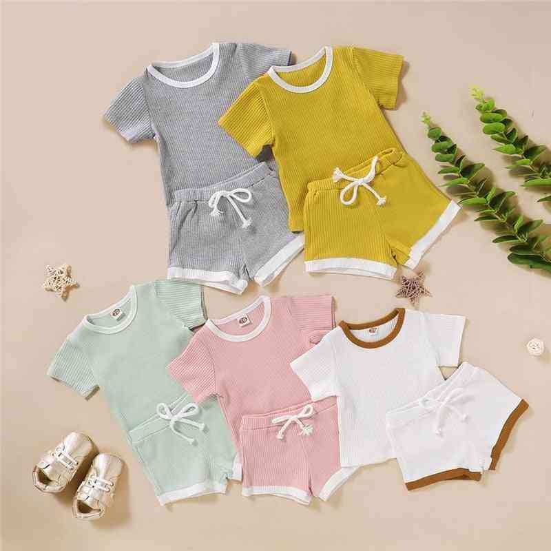 Summer Clothing, Ribbed Knitted Short Sleeve T-shirt And Shorts For Newborn