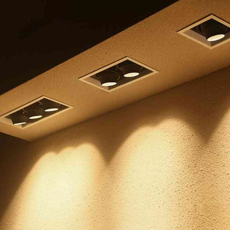 Gu10 Led Daring Embedded Square Ceiling Lamp, Double Head Bean Bum Spotlight Adjustable Angle Grille