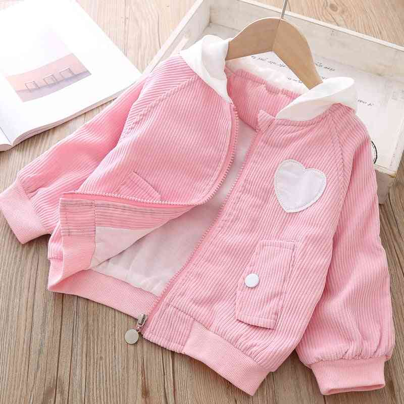 Heart Patch Design, Full Sleeves Hooded Jacket For Kids