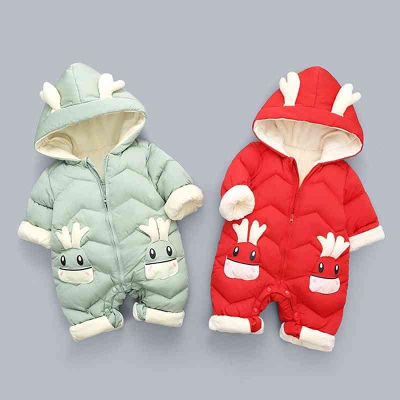 Rompers Cartoon Hooded Shiny Waterproof Coat For Newborn Snowsuit Toddler
