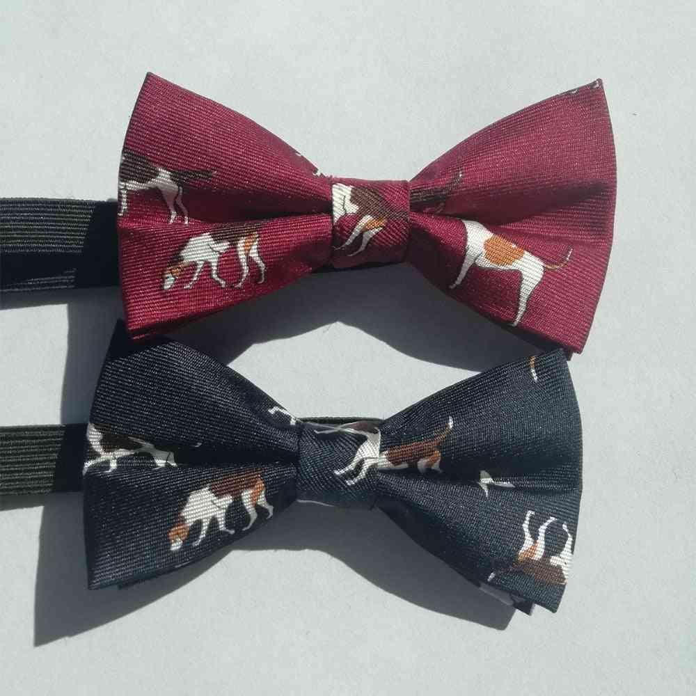 Animal Dog Print Silk Bow Tie