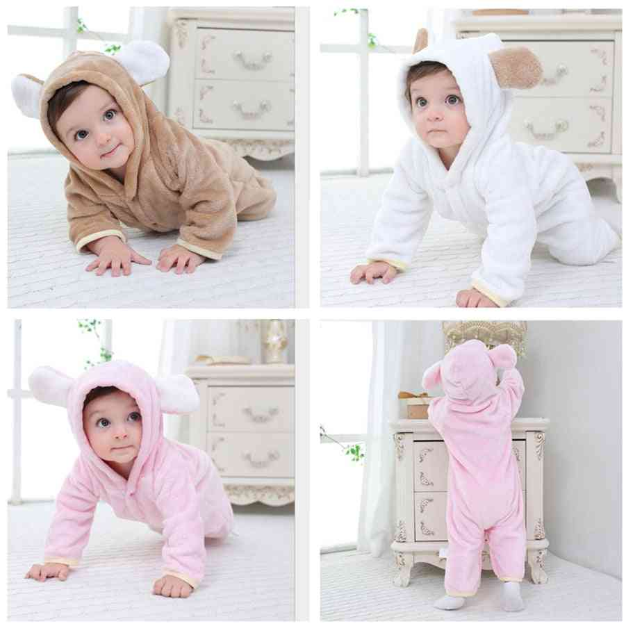 Soft Warm Hooded Rompers For Newborn