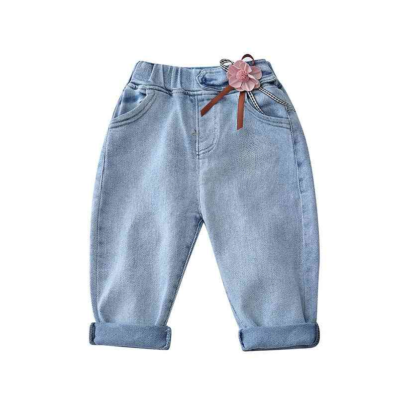 Full Length Elastic Waist Denim Trousers With Flower Patch For Kids
