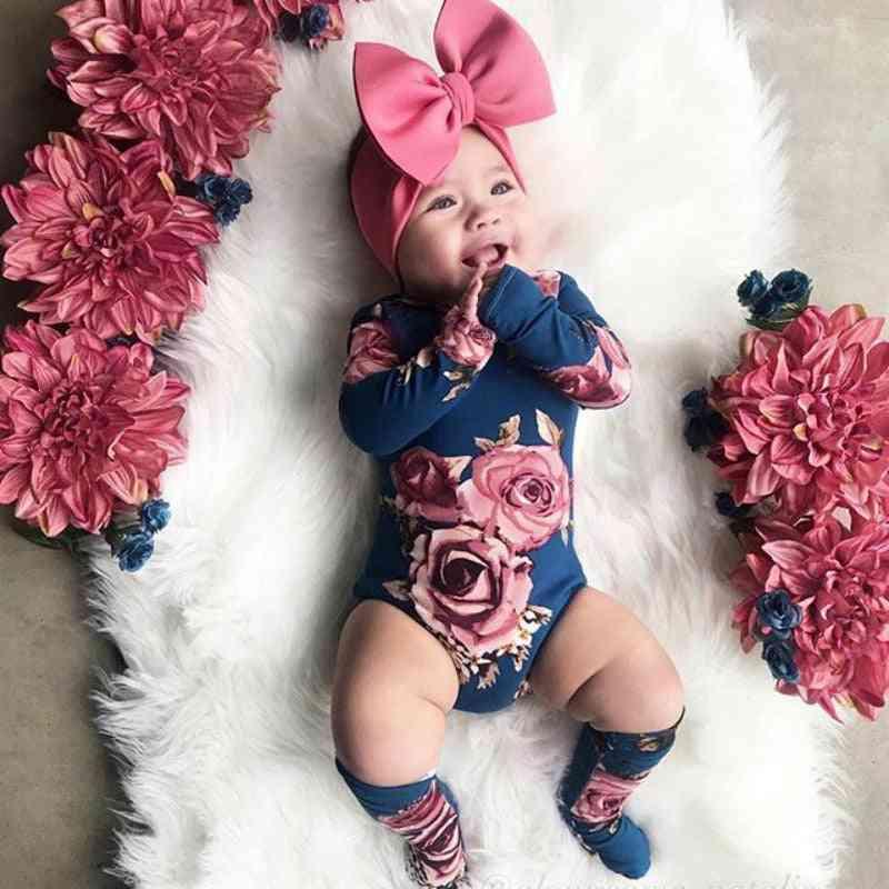 Newborn Baby Clothes, Long Sleeve Romper, Warm Leg Socks
