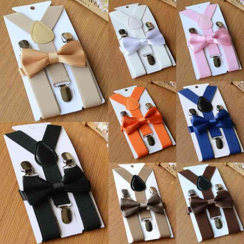 Elastic Adjustable Kids  Straps, Suspenders Braces Bow Tie