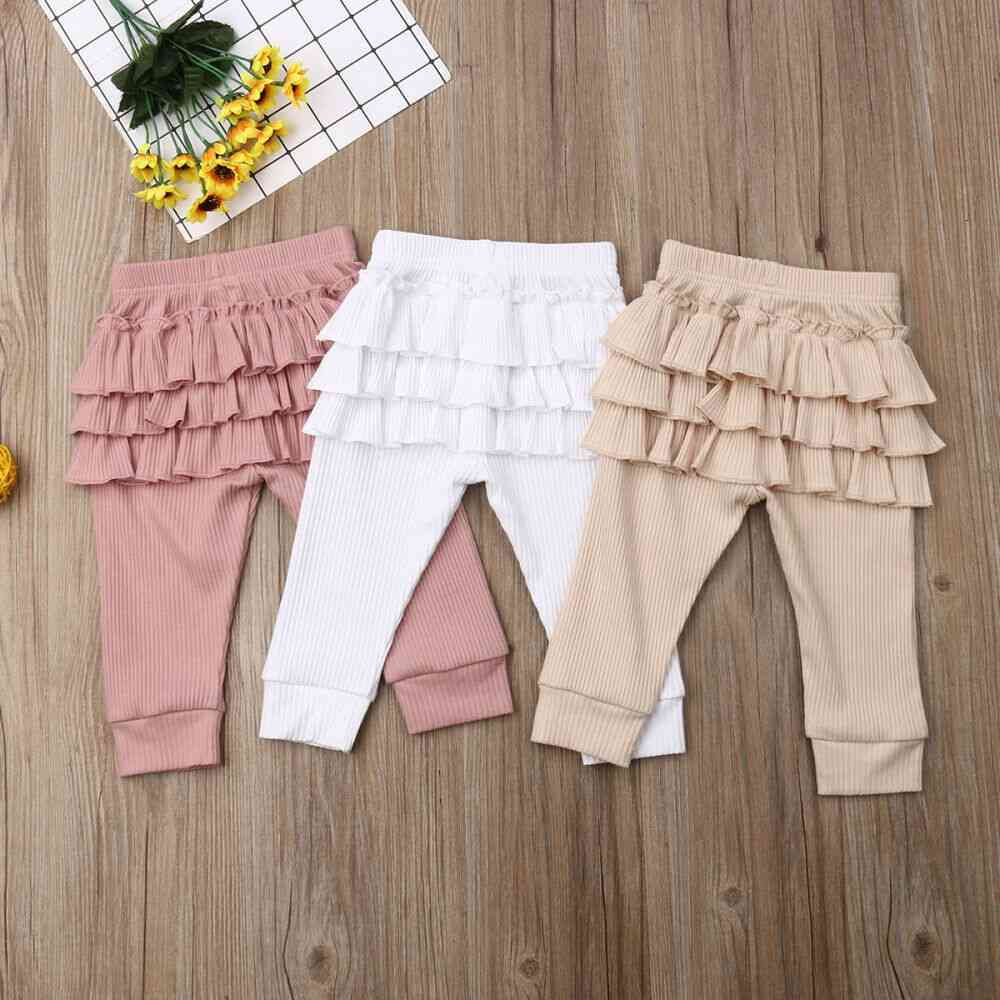 Newborn Baby Girl Ruffle Pants, Solid Leggings Trousers Clothes