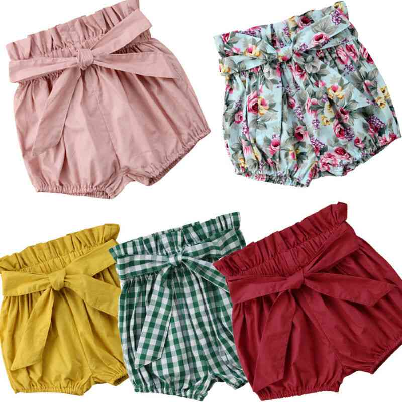 Baby Cotton Linen Shorts Bloomer- Nappy Diapers With Belt